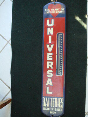 1950's Universal Battery Tall Painted Metal Thermometer Wall Sign