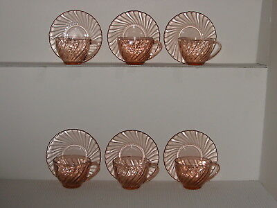 Set Lot 12 (6 sets) Cristal D'Arques Durand ROSALINE Pink Swirl Cups and Saucers