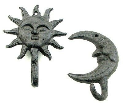 CAST IRON- Sun & Moon Face Hook Hanger  Set of 2 Many Uses! Indoor /outddor