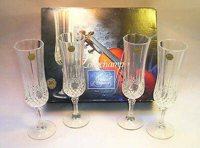 New Longchamp Cristal D'Arquis Champagne Set of 4 Glasses 24% Lead Crystal Boxed