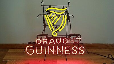 (L@@k) Guinness Beer Harp Glass Neon Light Up Bar Pub Sign Game Room Rare Style