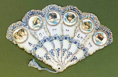 Victorian Paper Fan Forget-Me-Not Flowers Angel Faces Old Print Factory