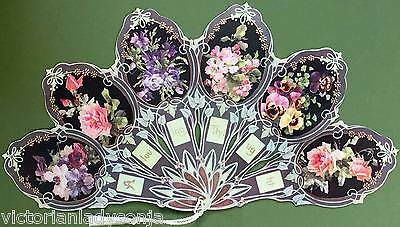Victorian Paper Fan Flower Cameos Old Print Factory