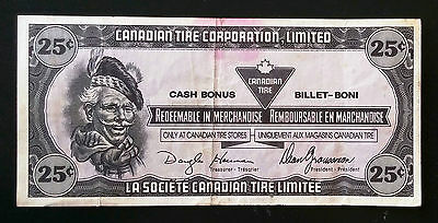 1989 Vintage Canadian Tire Money 25 Cent Coupon Note - Serial: J0939392