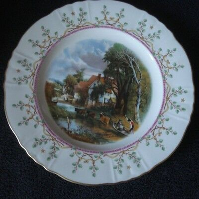 "Imperial Royal Crown Old House Plate Green Vine Gold Rim Plate 10"" NWOT"