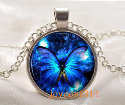 Butterfly Cabochon Silver/Bronze/Black/Gold Glass Chain Pendant Necklace #446