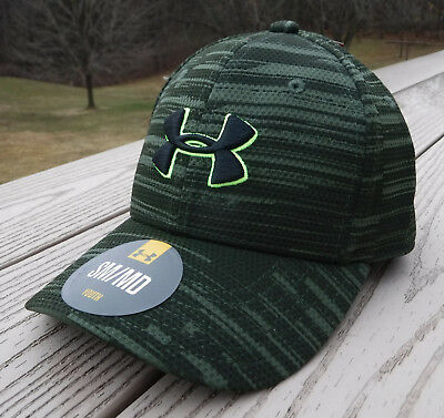 "NWT UNDER ARMOUR HeatGear ""Printed Blitzing"" Boys Flex Fitted Hat-S/M @$22 OLIVE"