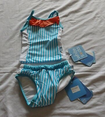 Baby Girls size 00 STRIPES tankini bather top  & SWIM NAPPY UPF50+  NEW