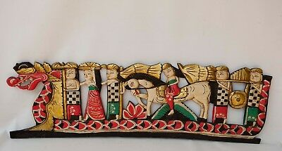 """Balinese architectural Panel relief Dragon Boat carved wood Wall art Bali 38"""""""