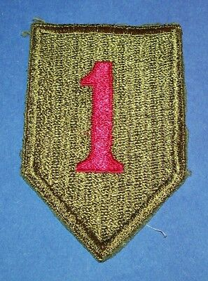 ORIGINAL CUT-EDGE WW2 FULLY EMBROIDERED SATIN 1st INFANTRY DIVISION PATCH