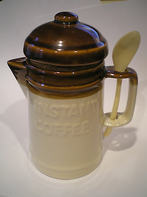 Vintage Glazed Brown Ceramic Instant Coffee Jar Canister with Spoon