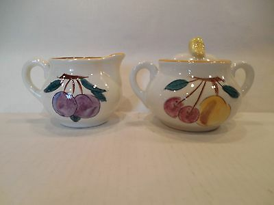 Stangl Pottery FRUIT Pattern Sugar and Creamer
