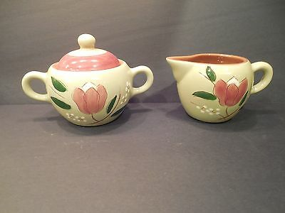 Stangl Pottery Magnolia Sugar Bowl With Lid And Creamer Set