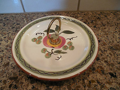 Stangl Pottery APPLE DELIGHT Handled Tidbit Plate Candy Dish Snack Tray
