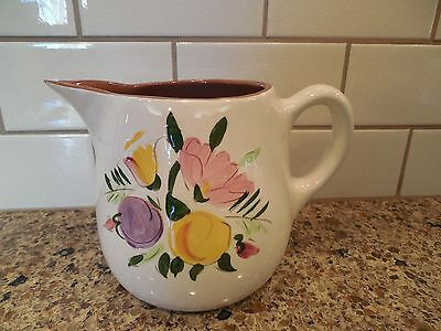 """Stangl Pottery FRUIT & FLOWERS Hand Painted One Quart Pitcher 5-1/4"""" H Vintage"""