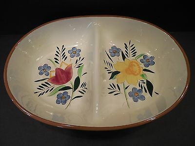Vintage Stangl Pottery Country Garden Divided Dish Casserole Hand Painted #ed