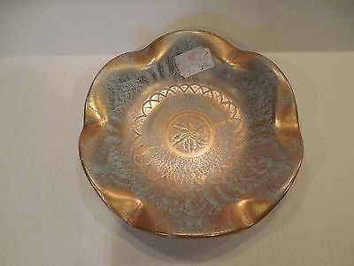 Stangl Pottery Antique Gold Turquoise Aqua Blue Ruffled Candy Dish #4061