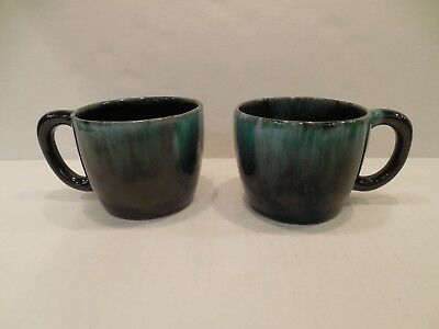 TWO Vintage Blue Mountain Pottery BMP Coffee Mugs Cups Canada Green Drip Glaze
