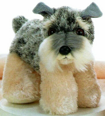 New AURORA FLOPSIE Stuffed Plush Toy DOG SCHNAUZER Animal Bean Filled Grey Gray