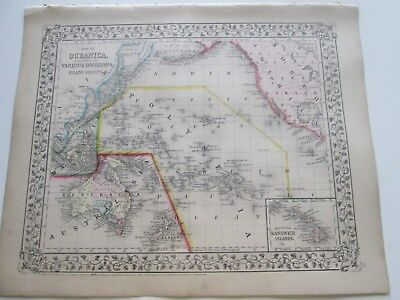 1871 ANTIQUE MAP of  OCEANICA, SANDWICH ISLANDS, by  S. AUGUSTUS MITCHELL
