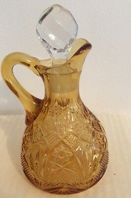 Vintage EAPG Amber Patterned Glass Cruet w/Ground Glass Prism Stopper