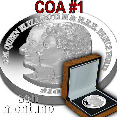 COA #1 Platinum Wedding Anniv 2 oz Silver Piedfort 2017 British Virgin Islands