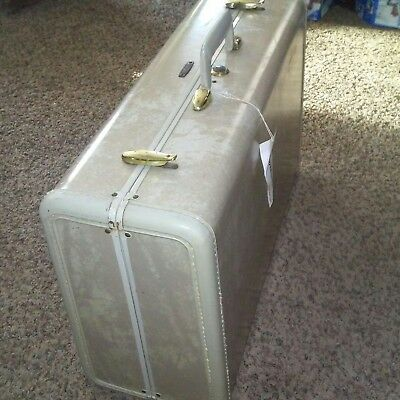 "Vintage Shwayder Bros Samsonite Luggage Cream Marble Suitcase 21"" with  Key A+"