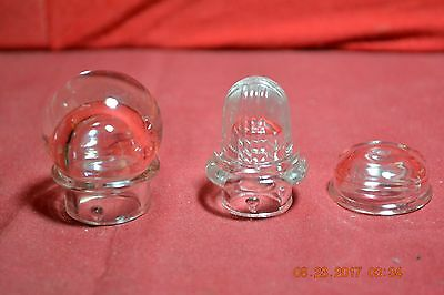 Set of Three Different Clear Glass Coffee Percolator Tops