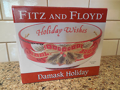 """New Fitz and Floyd Damask Holiday Sentiment Bowl """"Holiday Wishes"""" Christmas"""