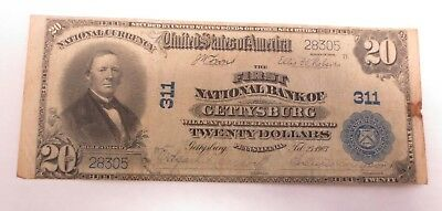 1902 $20.00 (Blue Seal) GETTYSBURG, PA National Bank Note (Charter #311)