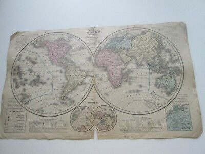 "1839 Smith's Atlas ""map Of The World"", Hemispheres, Published By Cady & Burgess"