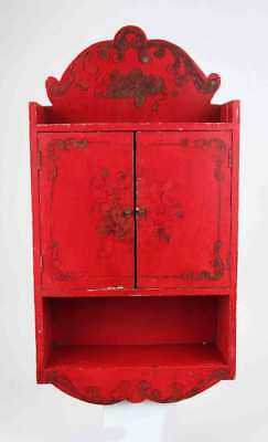 Vintage Italian Venetian Red Paint Decorated Gold Flowers Display Wall Cabinet