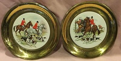 Fox Hunt Hunting Brass and Tile Wall Hangings Pair