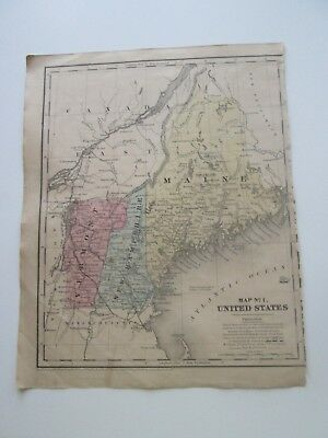 """1847 SMITH'S ATLAS """"MAP No.1, MAINE, VERMONT, NH"""" PUBLISHED BY CADY & BURGESS NY"""
