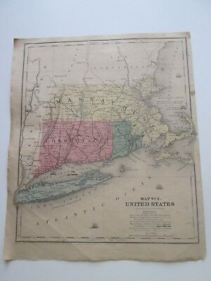 """1847 SMITH'S ATLAS """"MAP No.2, """"CT, MA, RI"""" PLUS, PUBLISHED BY CADY & BURGESS, NY"""