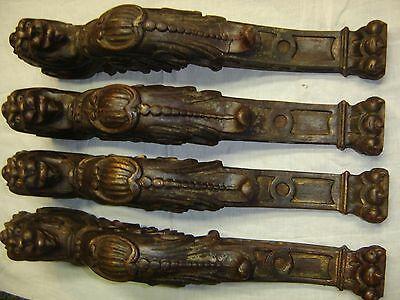 Set of 4 Antique Large Oak Winged Gargoyles Pediments  Claw-footed. 8364