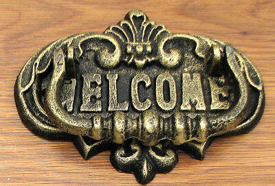 Large CAST IRON ORNATE WELCOME  Door Knocker VINTAGE STYLE
