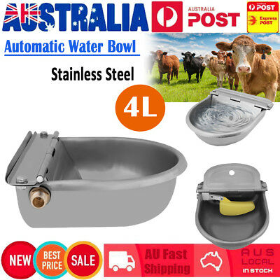 Stainless Steel Water Trough Bowl Automatic Drinking For Dog Horse Chicken 4L