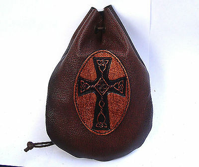 Leather Celtic Cross Dice Rune Coin Pouch Bag Taller Brown Medieval  Larp