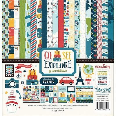 """Echo Park Collection Kit - GO SEE EXPLORE - 12x12"""" papers + stickers"""
