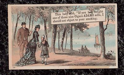 Victorian Trade Card Woman Objects to Man Not Smoking Adams Cigars