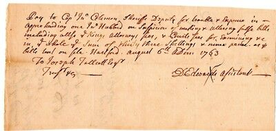 1763, Connecticut, Captain John Coleman, pay for arresting a counterfeiter, sig