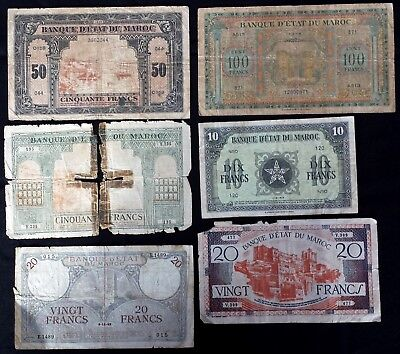 Morocco Lot of 6 Different Bank Notes 10, 20, 50 & 100 Francs