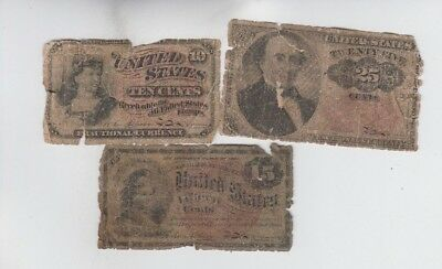 Fractional Currency Civil War Era Item 3 notes lower grade