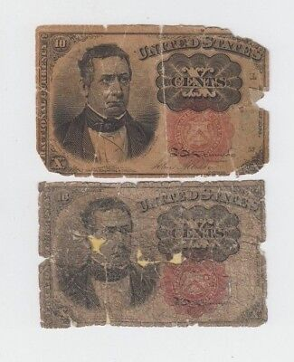 Fractional Currency Civil War Era Item 2 notes lower grade