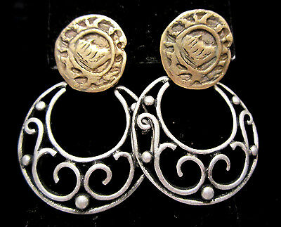 "Vintage 2"" Brass/Pewter Tone Dangle Pierced Hoop Earrings New Old Stock AH19"