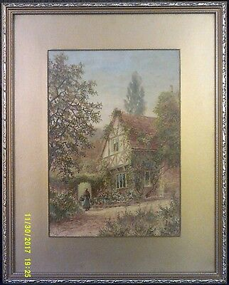 Antique Albert Dunnington 1921 Watercolour Drawing, Lady and Cottage
