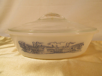Vintage Glasbake CURRIER & IVES 1 QT Oval CASSEROLE w/ Lid River Boats J-235