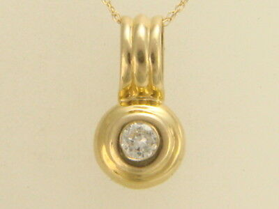 """14K Yellow Gold Solitaire Diamond Pendant Necklace 18"""" New Chain"""
