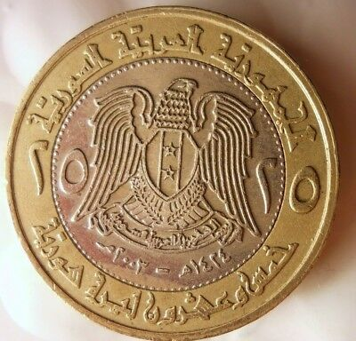 2002 SYRIA 25 POUNDS - Scarce Bi-Metal Coin - Free Shipping - MIDDLE EAST BIN #2